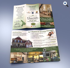 Atlanta brochure design and printing for Churchill's Home Improvment