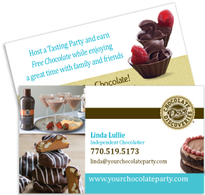 Business card design independent chocolatier