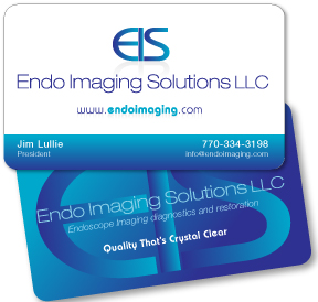 Business card design and printing for medical offices, medical services, endoscope repair company