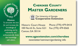Business card design and printing for Cherokee County MGs