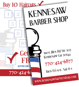 Kennesaw Barber business cards