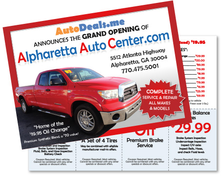 Alpharetta postcard design and postcard printing